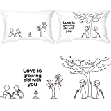 BOLDLOFT Grow Old with You Couple Pillowcases-Gifts for Couples 2 Year Anniversary Engagement...