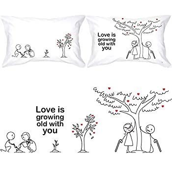 BOLDLOFT Grow Old with You Couple Pillowcases-Gifts for Couples 2 Year Anniversary Engagement Wedding Anniversary Dating Romantic Gifts for Him Her Boyfriend Girlfriend Wife Gifts from Husband