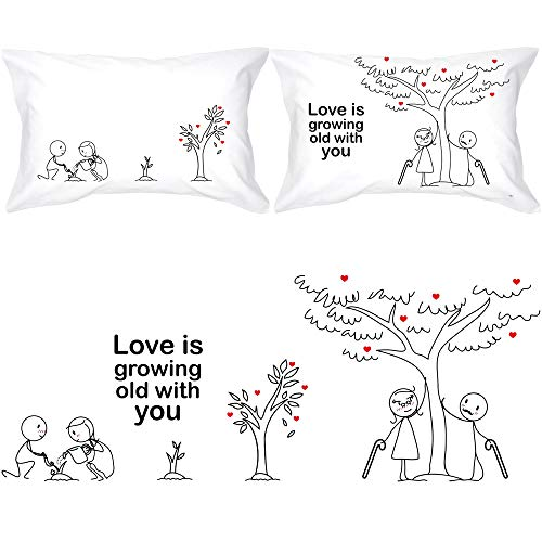 BOLDLOFT Grow Old with You His and Hers Pillowcases|2nd Anniversary Gifts for...