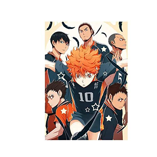 JHGJHK Arte de Dibujos Animados Moderno animación Voleibol Pintura al óleo para niños fanáticos del Anime decoración de la Sala de Estar del hogar Pintura 6