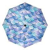 Paraguas de viaje compacto con diseño de sirena en color azul y morado, plegable, reversible, resistente al viento, protección UV, mango ergonómico, apertura y cierre automático