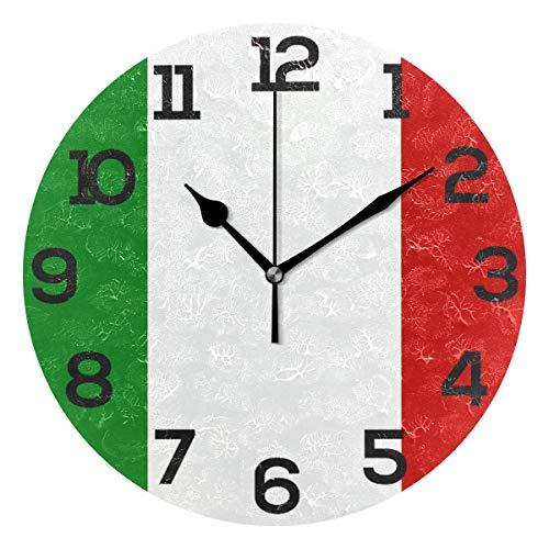 BONIPE Wanduhr mit Italienischer Flagge, geräuschlos, Acryl, 25,4 cm