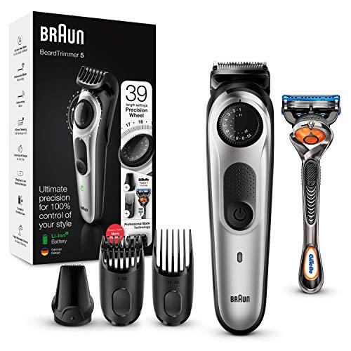 Braun Skäggtrimmer BT5260 och hårklippningsmaskin för män, livslång vassa blad, 39 längdjusteringar, svart/silvermetall, brittisk plugg