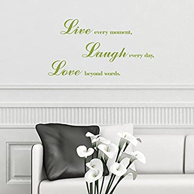 Decowall DWG-704 Love, Laugh and Live Graphic Kids Wall Stickers Wall Decals Window Stickers Peel and Stick Wall Stickers for Kids Nursery Bedroom Living Room