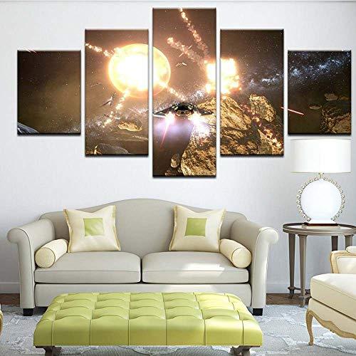 KOPASD HD 5 Piezas arte pintura Star Wars Sith Force Jedi X-Wing Millenium Tie Fighter fotos Prints en lienzo la imagen Decor aceite para decoración de hogar moderno(Sin tamaño de marco 200x10