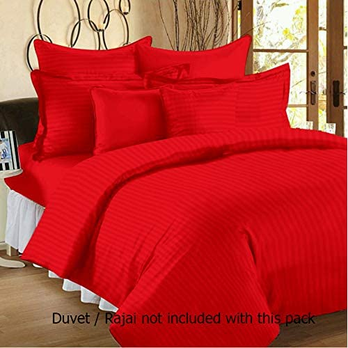 "Linenwalas All Season 100% Anti-Pilling 310 TC Cotton Stripes Duvet/Quilt/Comforter Cover- Cherry Red - 90"" X 100"""
