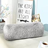 Jelymark Fluffy Pillows for Sofa Bed Home Decor, Super Soft Fuzzy Body Pillow for Bedroom Couch, Faux Fur Cylinder Round Pillow for Kids Sleeping, Removable Throw Pillow Cover & Inserts, Grey 8x25 in