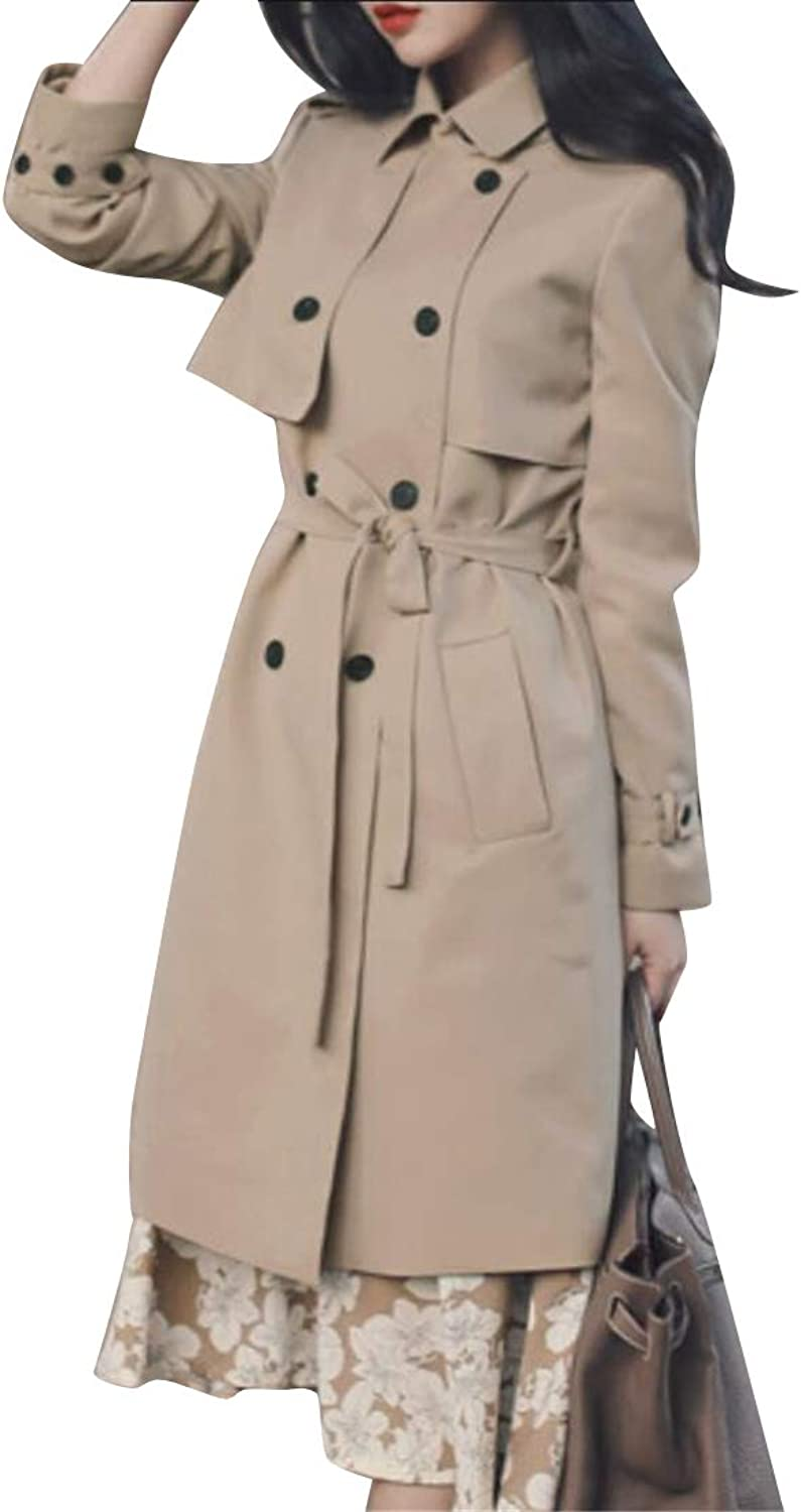 WAWAYA Womens Double Breasted Pure color Slim Fit Belted Mid Length Trench Coat Outerwear