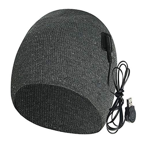 S28esong Heated Hat,Men Women Winter Solid Skiing KnitRechargeable Electric Warm Heated Hat, Heated Beanie Hat,Winter Heated Fleece Cap