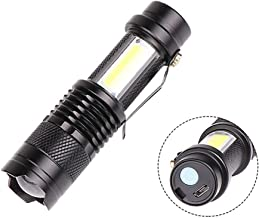 Meiyiu COB LED Flashlight Portable Mini Zoom Torchflashlight Built-in 1200mah Battery