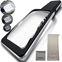 MagniPros 3X Magnifying Glass with [Anti-Glare & Fully Dimmable LEDs]-Evenly Lit Viewing Area-The Brightest & Best Magnifying Glass for Reading, Low Vision Seniors, Macular Degeneration, Inspection