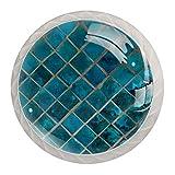 Fondo de mosaico de cerámica turquesa brillante exótico 4PCS Pomo de armario, tirador para cajón, Pomos y Tiradores de Muebles,Pomos, pomos, para Puertas, Armarios de Cocina,Cajones - un solo agujero