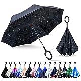 ZOMAKE Paraguas de Doble Capa Invertido, Paraguas Plegable Reversible con Protección contra Rayos UV, Resistencia con Viento, Mango en Forma de C para Mujer Hombre Coche(Dia lluvioso)
