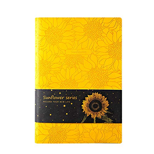 zhichy Cuaderno de girasol de piel sintética, tamaño A5, agenda semanal, planificador de notas, escuela, suministros de oficina kawaii papelería