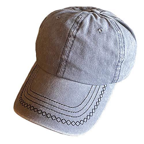 PTMD Damen Herren Sommer Vintage Gewaschene gefärbte Baumwolle Baseball Cap Casual Outdoor Sonnenschutz Einfarbig Gewellt Gestreift Verstellbar Dad Hat