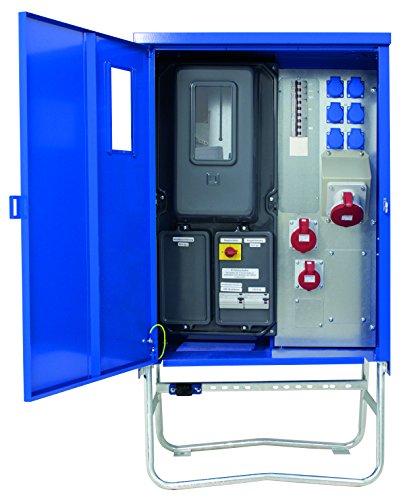 as - Schwabe 61131 Baustromverteiler SAVEV 2 CEE-Stromverteiler für Baustelle, Aussen und Outdoor, IP44, 16A, 32A, 63A, blau