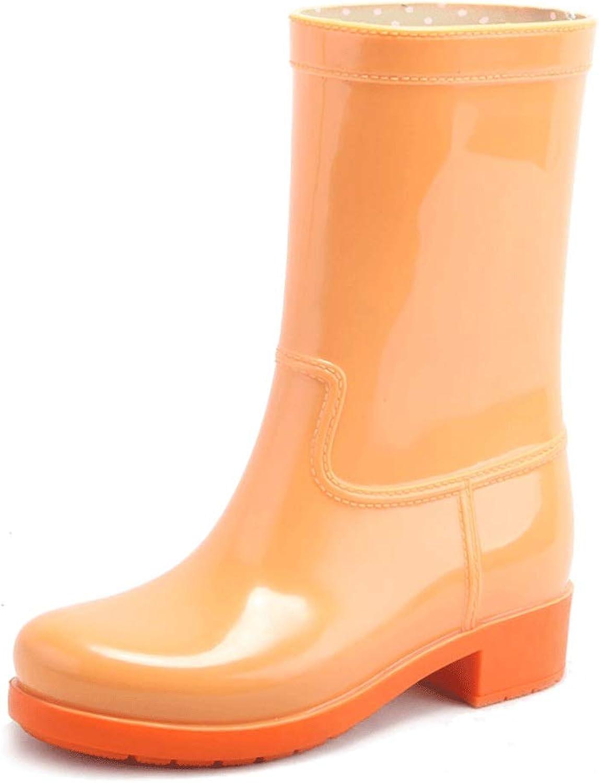Duanguoyan Regenstiefel- Plus samt Herbst und Winter Mode Regen Stiefel in der Tube Wasser Stiefel Wasserdichte Rutschfeste dünne Regen Regen Stiefel für Erwachsene (Farbe   Orange, größe   36)  | Garantiere Qualität und Quantität