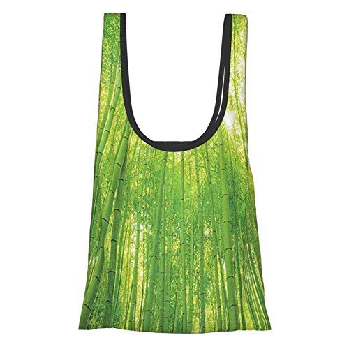 Bambus-Dekor-Bild von Bambusbäumen mit Sonnenlicht im Regenwald, exotische Wildtiere, Pflanzen, Natur, Zen, Dekoration, grün, wiederverwendbare Einkaufstasche, umweltfreundliche Einkaufstasche