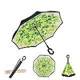 OAUSTAR, Paraguas invertido, Paraguas a Prueba de Viento, Paraguas invertido, Paraguas para Mujeres, Hombre con protección UV, Paraguas de Boca Abajo con Mango en Forma de C Azul Azul Cielo Small