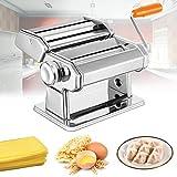 Froadp Máquina manual para hacer pasta de acero inoxidable, máquina de rodillos para pasta de 8 niveles, ajuste de espesor, máquina para pasta de pasta con cúter para pasta de pasta de