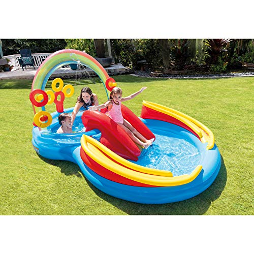 An inflatable pool is a fun water toy for toddlers to cool off outdoors
