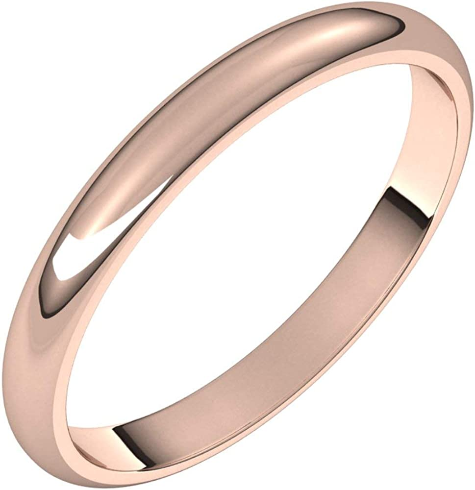14k Rose Gold 2.5mm Half Round Band Wedding Size Online limited product Bridal Ring service 6.