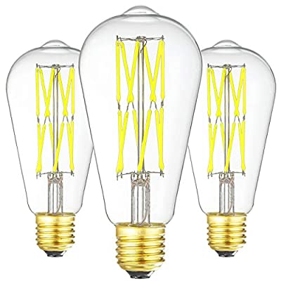 LED Edison Bulb Dimmable 12W 6000K Daylight White 1200LM, 100W Equivalent E26 Medium Base, ST64 Vintage LED Bulbs, 360 Degree Beam Angle, Clear Glass, Pack of 3