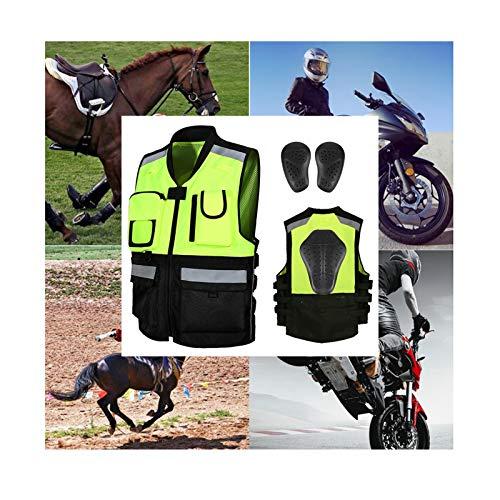 Motorrad-Reitweste, Panzer-Lokomotiv-Weste, 3 abnehmbare Schutzausrüstung, stoßfest und mit hoher Helligkeit, Reflexion, das beste Fahrradgeschenk (Farbe: grün, Größe: XX-Large)