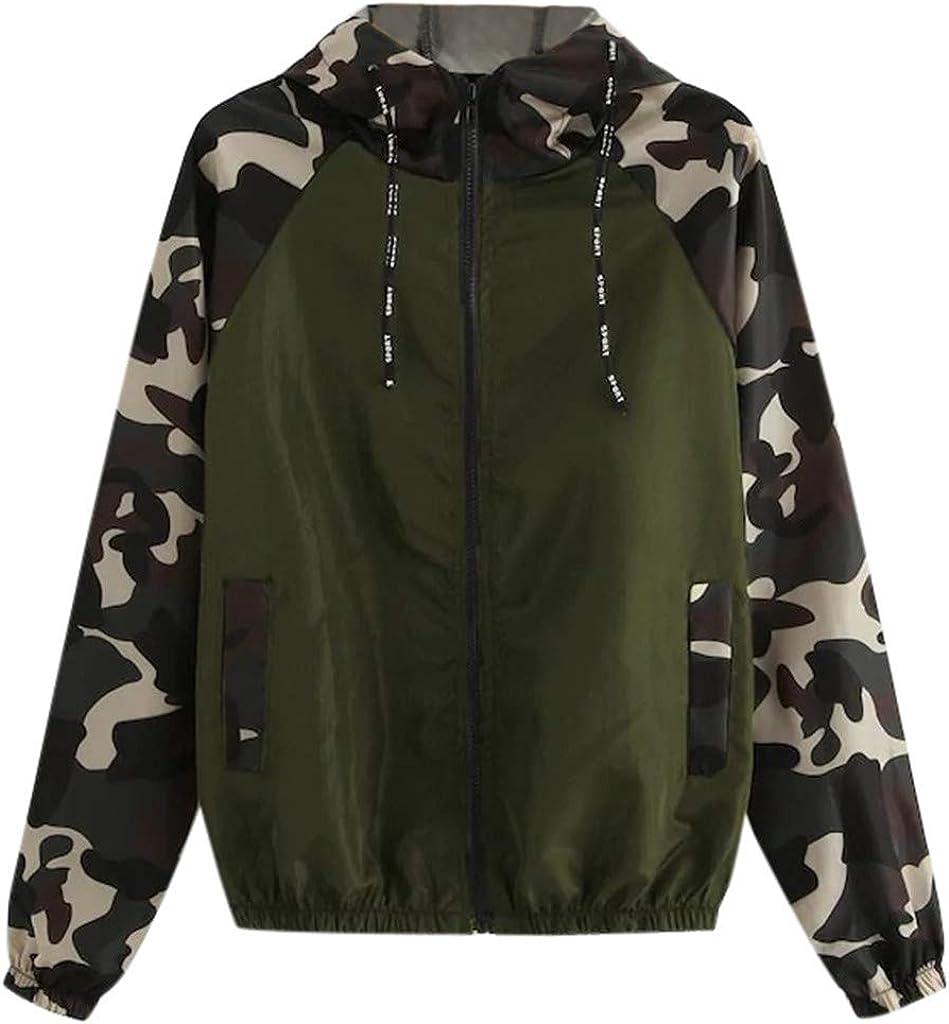 g Sleeve Patchwork Hooded Zipper Pockets Casual Sport Coat Jacket