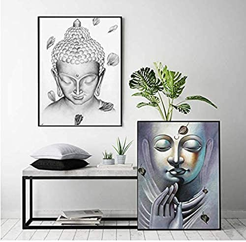 YHJK Póster Imagen Arco Meditación Estatua de Buda Pintura Blanco y Negro Cartel Budista Moderno Decoración del hogar Imágenes artísticas de Pared 2x50x70cm sin Marco