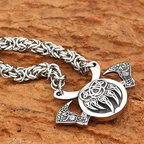 QLJYT Collar de Cadena Hecho A Mano con Colgante de Hacha Pata Oso Valknut Vikingo Nórdico,50cm