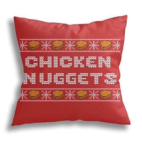 HCLIFE - Weihnachtliches Huhn-Nuggets – Wurf-Kissenbezug, lustig, dekorativ, quadratisch, Standard-Kissenbezüge, Couch, Sofa, Bett, 45,7 x 45,7 cm.
