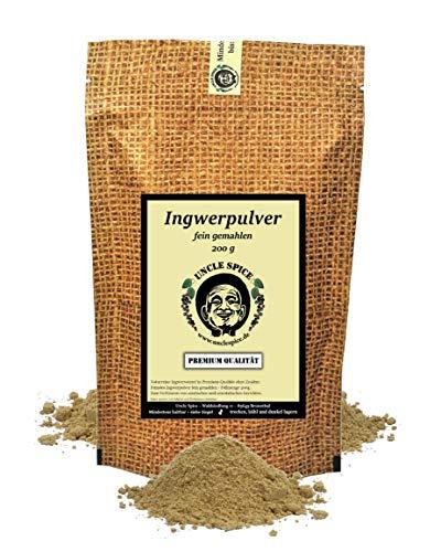 Uncle Spice Ingwer Pulver - 200g Ingwer-Wurzel fein gemahlen in Premiumqualität - Ginger powder, Ingwerpulver, Ingwerwurzel Gewürzpulver - Ideal auch für Ajurveda Ingwer Tee