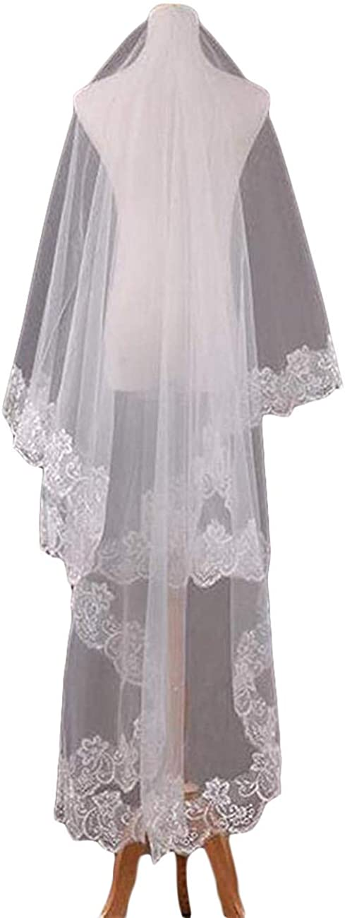 Faiokaver Wedding Veils Ivory 2 Tier Cathedral Floral Lace Edge Blusher with Comb