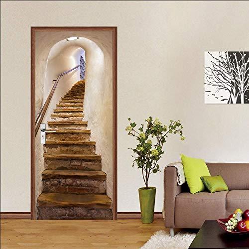 Autocollants De Décoration Waterproof 3D Door Sticker Self-Adhesive Paper Decorative Wall Slate Stone Ladder