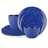 Zak Designs Confetti Melamine Dinnerware Set Includes Dinner Plates, Salad Plates, and Individual...