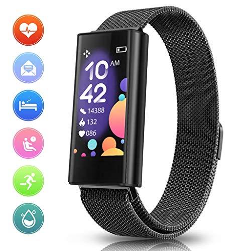 LTLJX Fitness Armbanduhr Damen,0.96 Zoll Touch-Farbdisplay Pulsuhr Fitness Tracker IP67 Wasserdicht Sportuhr Smart Watch mit Schrittzähler,Schlafmonitor,Stoppuhr,Schwarz
