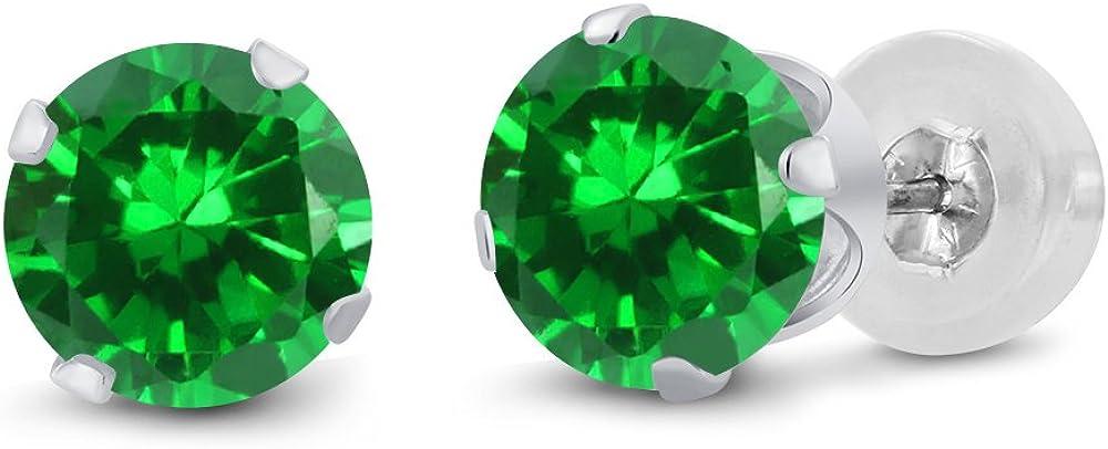 Gem Stone King 14K White Gold Green Bargain sale Emerald Stud Simulated wholesale Women