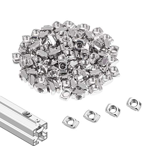 SpzcdZa 2020 Series T Nuts,105pcs M5 Sliding T Slot Nut Hammer Head Fastener Nut Nickel Plated Carbon Steel, M5 Half Round Roll in T-Nut for 2020 Series Aluminum Extrusion Profile