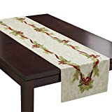 Benson Mills Christmas Ribbons Engineered Printed Fabric Table Runner, 16'x 90'
