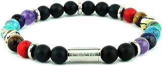 Bracciale dei 7 chakra con pietre dure onice nero opaco e le 7 pietre della cristalloterapia