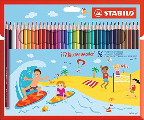 Aquarell-Buntstift - STABILO aquacolor - 36er Pack - mit 36 verschiedenen Farben