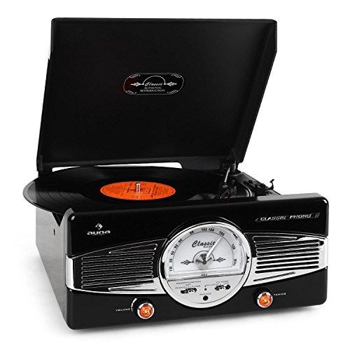 auna MG-TT-82B - Retroanlage, Stereoanlage, Plattenspieler, Riemenantrieb, max. 45 U/min, Stereo-Lautsprecher, 50er Design, Start-Stopp-Automatik, Radio-Tuner, UKW-Empfänger, schwarz