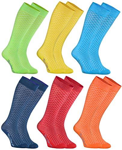 Rainbow Socks - Jungen Mädchen - Baumwolle Spitzen Kniestrümpfe - 6 Paar - Grün, Gelb, Blue, Jeans, Rot, Orange - Größen 30-35