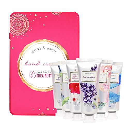 Handcreme set, Body & Earth Pflegecreme Handcreme angereichert mit Sheabutter und Glycerin, Geschenkset für Frauen (6x1 Fl.ozl)
