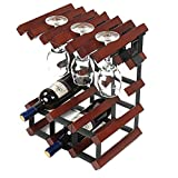 Estante del vino de madera maciza de aerosol de pintura abrillantada estante del vino Decoración gabinete del vino cáliz Europea colgador estante estante del vino vino 32.5x23.5x41.5cm (颜色 Color: A) K