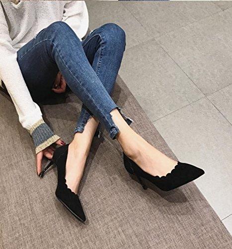 Ajunr Fine pointe et 6cm chaussures à talons hauts chaussures femmes port léger et polyvalent simple tempérament noir mat Chaussures unique Sandales,Femmes,Loisirs,été Mode