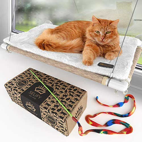 Cat Window Hammock - Free Fleece Blanket and Toys - Extra Large and Sturdy - Holds Two Big Cats - Easy to Assemble!