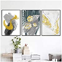 絵画 モダンゴールドローズフラワーキャンバス絵画抽象ポスタープリント幾何学壁アート写真寝室用ホームデコ23.6x31.5in(60x80cm)x3pcsフレームなし
