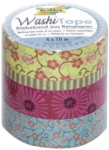 folia 26405 - Washi Tape, Klebeband aus Reispapier, 4er Set Blumenregen - ideal zum Verzieren und Dekorieren